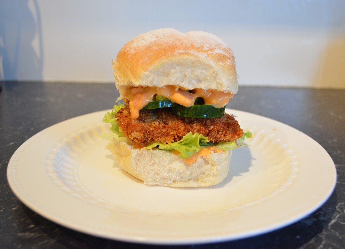 Chicken Schnitzel Burger With Baconnaise What S Cooking Ella
